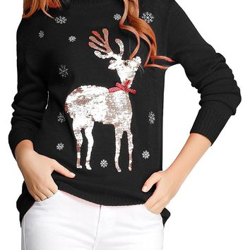 Ugly Christmas Sweater, V28 Women Girls Cute Shining Reindeer Pullover Sweater