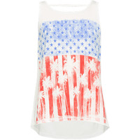 Full Tilt Americana Bar Back Girls Tank White  In Sizes