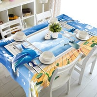 3D Tablecloths Dolphins and Penguin Printing Waterproof/oil-proof Washable Thicken Rectangle Dining Table Tea Table Cloth-T013