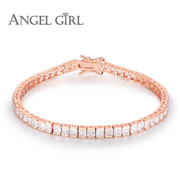 Angel Girl AAA+ Elegant Square 4mm CZ Diamond Tennis charm Bracelets & bangles rose Gold Plated Princess Cut CZ Wedding Jewelry