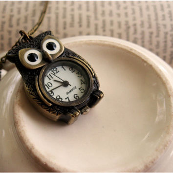 Wide Eyed Mr Owl Pocket Watch Necklace by sodalex on Etsy