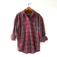 Vintage Plaid Flannel Shirt. Boyfriend Shirt. Oversized Button Up Shirt. Preppy Grunge Shirt.