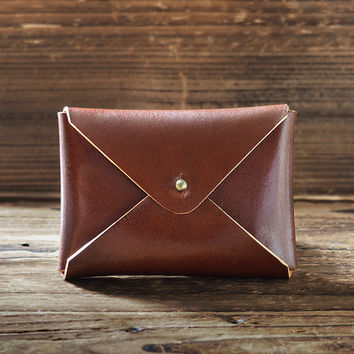 Leather Business Card Holder #Whiskey Brown