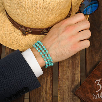 Guys bracelet TURQUOISE, Gift for guys, turquoise jewelry