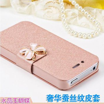 luxury Mobile flip coque case for apple iphone 4 4s 5 5s 6 6s 7 plus Leather cover capa fundas case for i phone5 phone bag