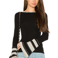 Autumn Cashmere Ribbed Pleat Cuff Sweater in Black Combo | REVOLVE