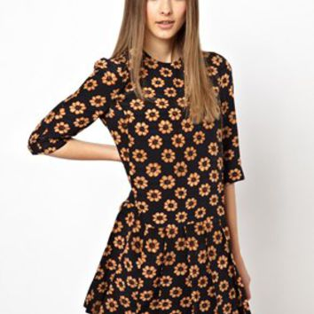 HOUSE OF HACKNEY Exclusive to ASOS 60s Shift Dress in Blue Daisy Print