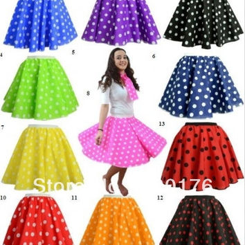 POLKA DOT ROCK AND ROLL 50s  FANCY DRESS CLASSIC VINTAGE FULL CIRCLE SKIRT SIZE S-6XL
