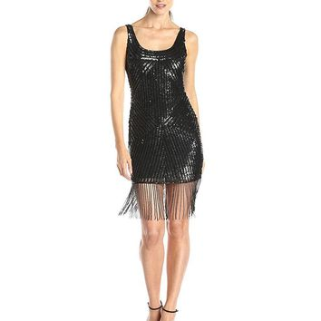 Adrianna Papell - 41905350 Sleeveless Sequined Fringed Cocktail Dress