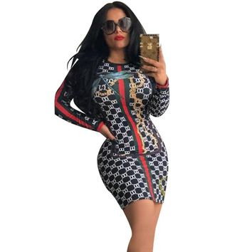 Long sleeve autumn winter bodycon bandage women mini dress slim Package Hip o neck nightclub sexy short part plaid print dress