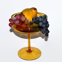 Empoli Amber Glass Stemmed Compote - Fruit or Candy Pedestal Bowl - Hand Blown Italian Beauty