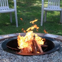 """Fire Pit Ring In Ground Rim Outdoor Campfire Round Wood Burning 27"""" 30"""" & 36"""""""