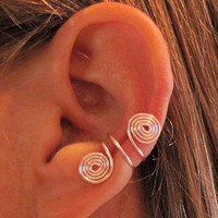 Non Pierced Double Spiral Ear Cuffs 1 Cuff - Pink or 17 Color Choices
