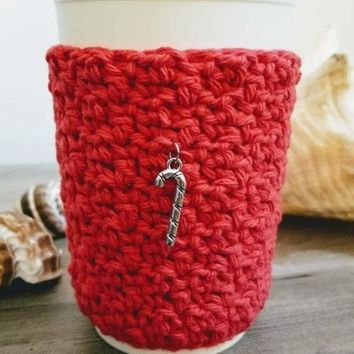 Red Coffee or Tea To Go Cup Mug Cozy Sleeve with Christmas Candy Cane Charm
