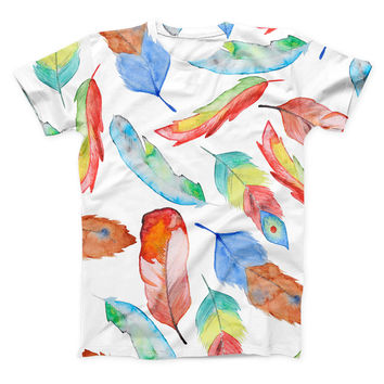 The Vibrant Colorful Brushed Feathers ink-Fuzed Unisex All Over Full-Printed Fitted Tee Shirt