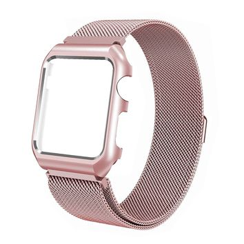 Compatible for Apple Watch Band with Case 38mm, Stainless Steel Mesh Milanese Loop with Adjustable Magnetic Closure Replacement Wristband iWatch Band for Apple Watch Series 3 2 1 - Rose Gold