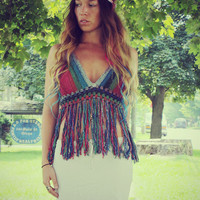 Rainbow Peace Festival Top With Fringe,  Crochet Crop Top, Fringe Tank, Hippie, Bohemian, Summer, Bikini, Vintage Style Crochet