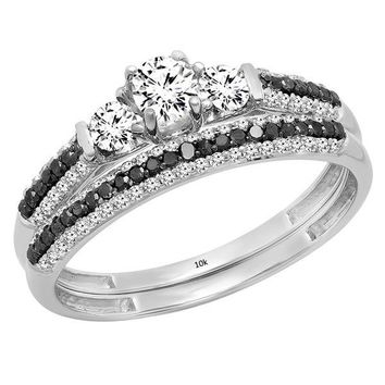 10K Gold White Sapphire, Black & White Diamond 3 Stone Bridal Engagement Ring Set