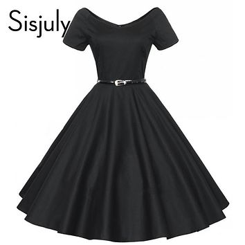 Sisjuly vintage autumn dress a line solid women party dress with sashes and short sleeve retro 1950s rockabilly vintage dresses