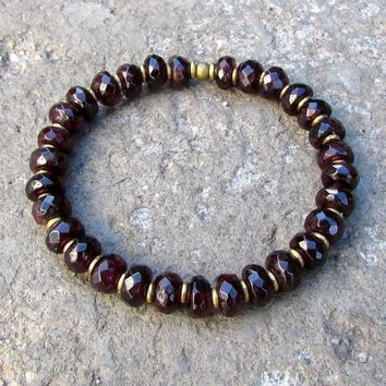 Love, Genuine Faceted Garnet and African Trade Beads Mala Bracelet