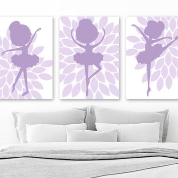 BALLERINA Wall Art, Lilac Purple Baby Girl Nursery Decor, Girl Purple Bedroom Wall Decor, Ballerina Flower Pictures Set of 3 Canvas or Print