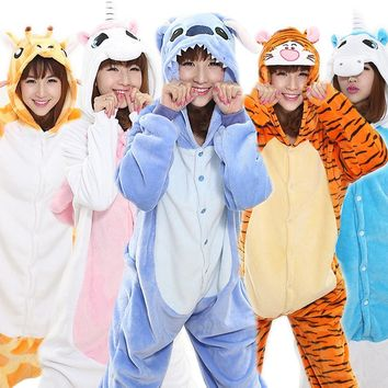 Winter Adult Unisex Pajamas Cartoon Animal Cosplay Costume Hooded Onesuit Flannel Sleepwear Unicorn Panda Stitch Tigger Pikachu