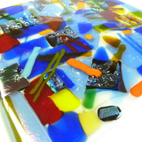 Wonderland  Fused Glass Art Plate