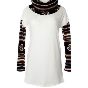 DejaVu Aztec Combo Cowl Neck Sweater (Black/White)