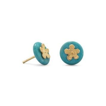 Flower and Turquoise Disk Stud Earrings