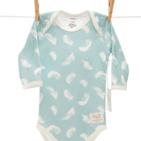 Organic soft blue feather bodysuit handmade in USA