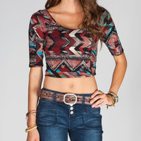 Full Tilt Ethnic Print Womens Crop Top Multi  In Sizes