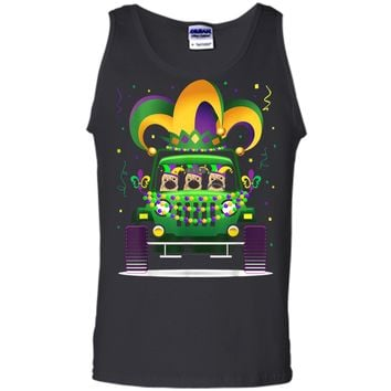 Funny Pug Riding Jeep Lover Mardi Gras Hat Beads  Tank Top