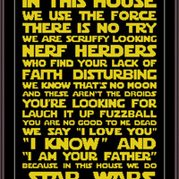 Star Wars Funny Cross Stitch PDF Pattern - In This House We Do Star Wars