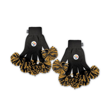 Pittsburgh Steelers NFL Spirit Fingerz Embroidered Pom Gloves