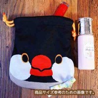 Strapya World : Soft and Downy Bird Drawstring Bag (Java Sparrow)