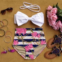 Swimsuit New Arrival Hot Summer Sexy Beach Swimwear Vintage High Rise Butterfly Bikini [4914744516]