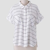 Cross The Line Striped Button-Up
