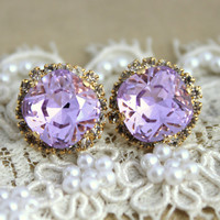 Provance Purple violet lavender Crystal stud big earring - 14 k plated gold post earrings real swarovski rhinestones