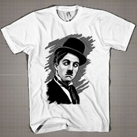 CHARLIE CHAPLIN Vector  Mens and Women T-Shirt Available Color Black And White