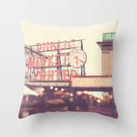 6:20. Seattle Pike Place Public Market photograph Throw Pillow by Myan Soffia