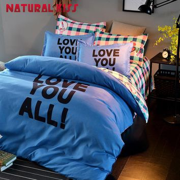 Fashion LOVE YOU English Solid color Style home Bedding Sets Bed Sheet and Duver Cover Pillowcase Soft and Comfortable Bed set