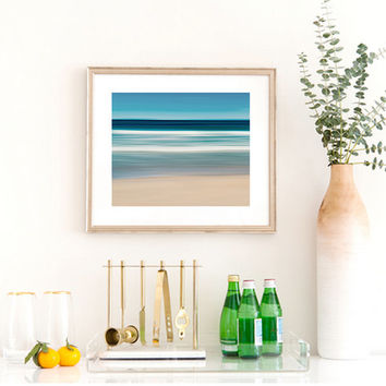 Large Abstract Wall Art Beach Scene Nautical Decor Martha's Vineyard South Beach Ocean Waves Photograph Coastal Artwork Blue Teal Aqua Beige
