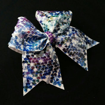 Cheer bow, Multi color cheer bow, reversible sequin cheer bow, cheerleading bow, softball bow, pop warner cheer bow, dance bow