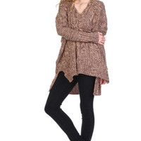 Lazy Days Cable Knit Sweater - Brown