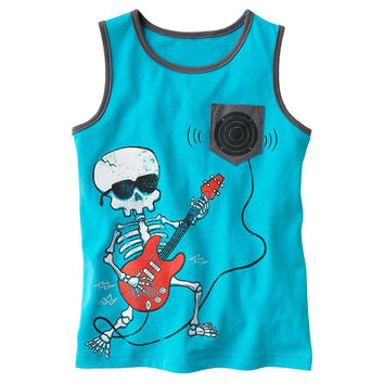 Kids & Toddlers Skull Blue T-shirt Tanks Boys t shirt