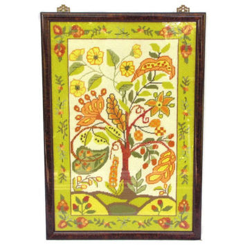 FINAL CLEARANCE Rich Tapestry - Large Asian Botanical Needlepoint Picture, Chartreuse Green & Coral Orange, 26x18, Framed Ready to Hang