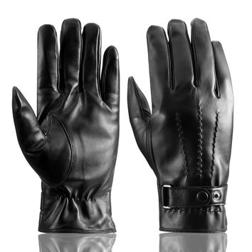 Men's Genuine Leather Gloves Touchcreen Winter Warm Driving Soft Cashmere Lining Gloves