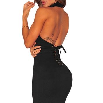 Black Lace up Back Halter Dress