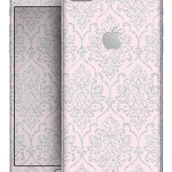 Pink and Silver Glitter Damask Pattern - Skin-kit for the iPhone 8 or 8 Plus
