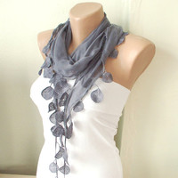 Grey sky grey Cotton Scarf with Lace1 by Periay on Etsy